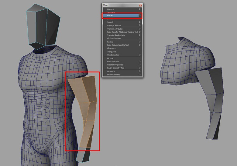 Separating the arm and part of the torso