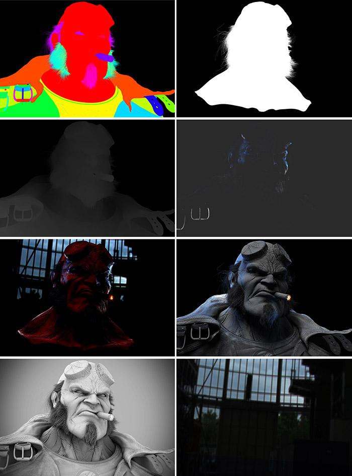 Various render passes used in the creation of Hellboy