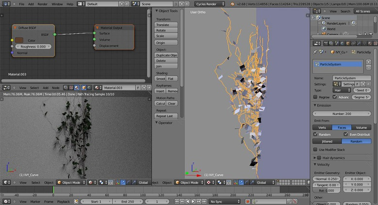 Particles system and leaves
