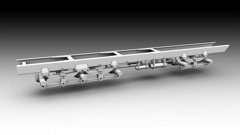 This image shows the frame and undercarriage of the vehicle