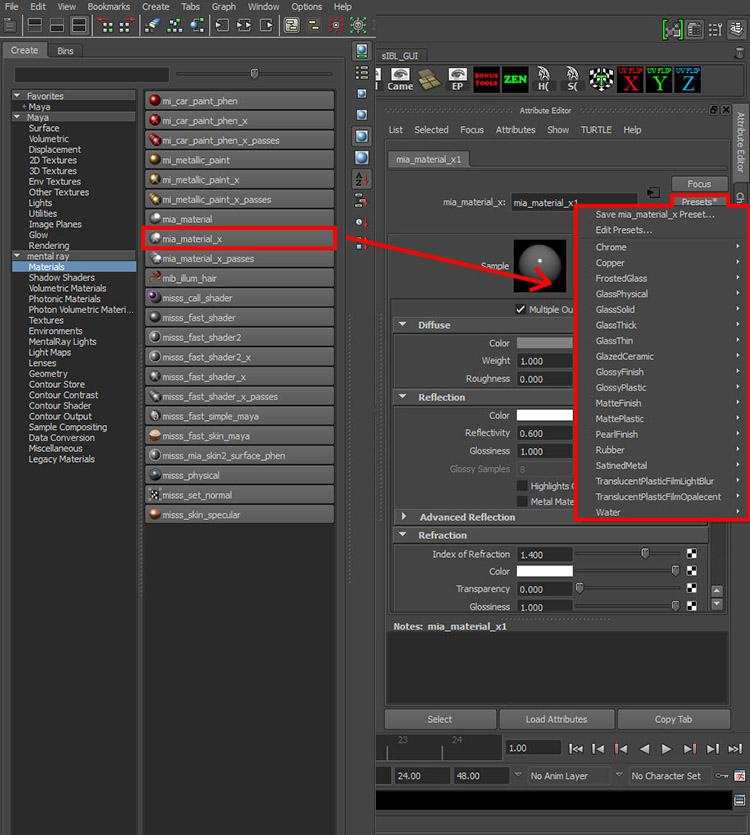 This image demonstrates the mia_material_x_ presets