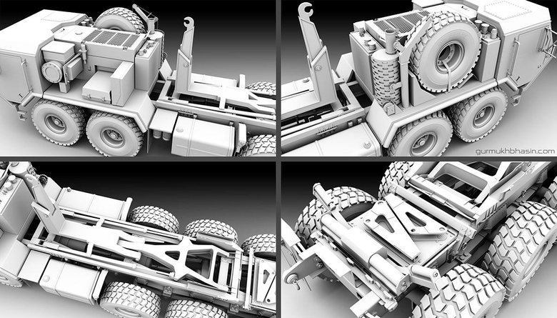 Here you can see a screen shot and occlusion render of the back and tire details