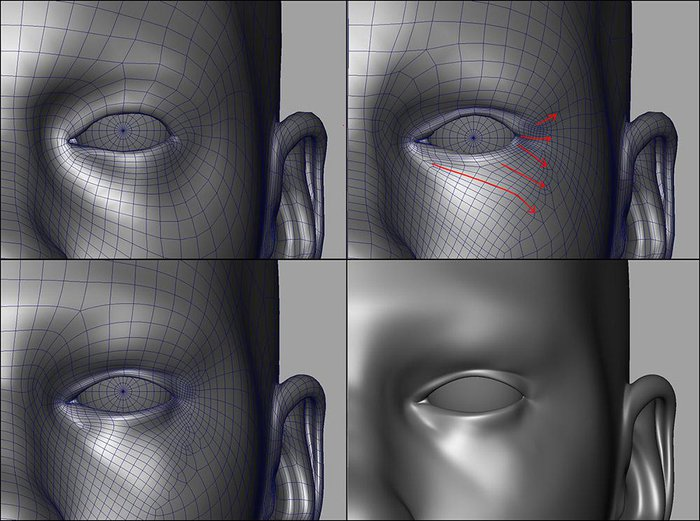 Cutting into the model to add the skin flow around the eyes