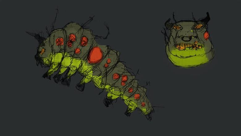 2D sketch of the caterpillar