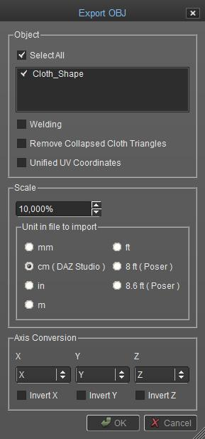 Settings to use when exporting your file as an OBJ: