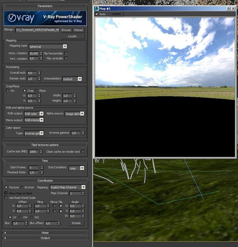 Some of the settings used in V-Ray