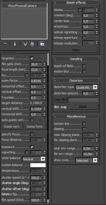 More settings for the camera