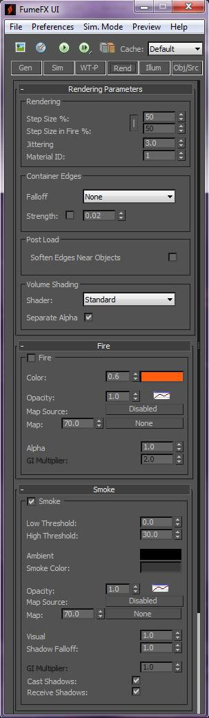 The following settings are needed in the Rendering tab