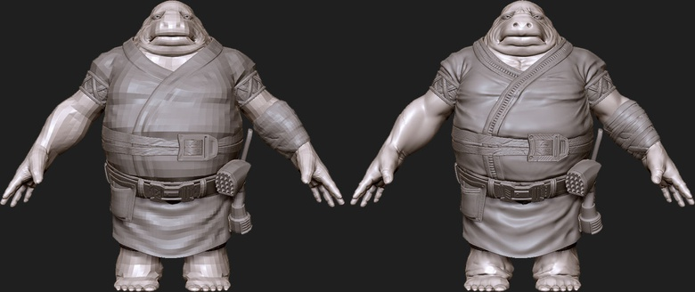 This basic sculpt in an A-pose shows my model at this point