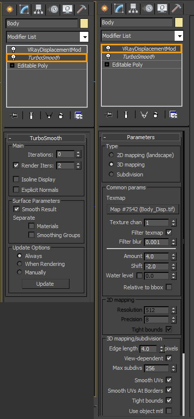 Adding a TurboSmooth modifier with a VRayDisplacementMod to the body