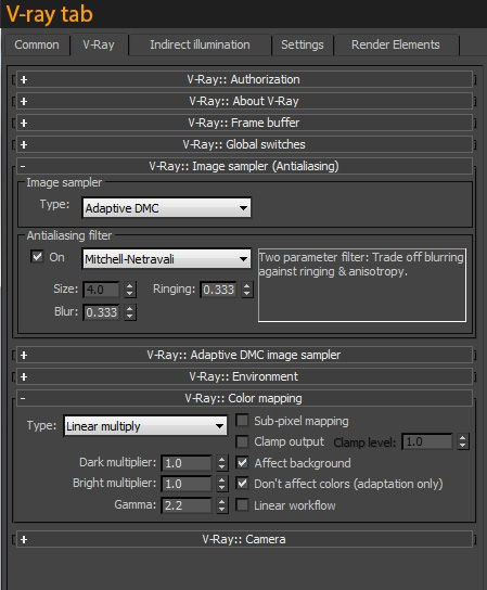 Render settings in the V-Ray tab