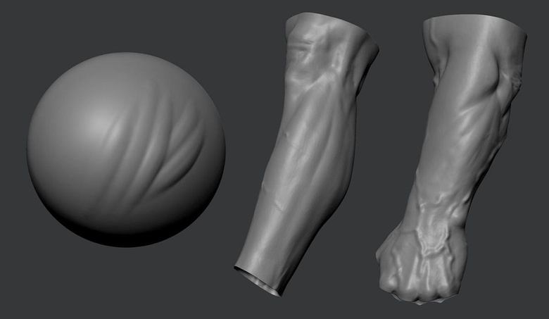 Using ClayBuildup, Standard and custom brushes to sculpt the body