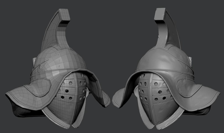 Modeling the helmet first made the head easier to refine