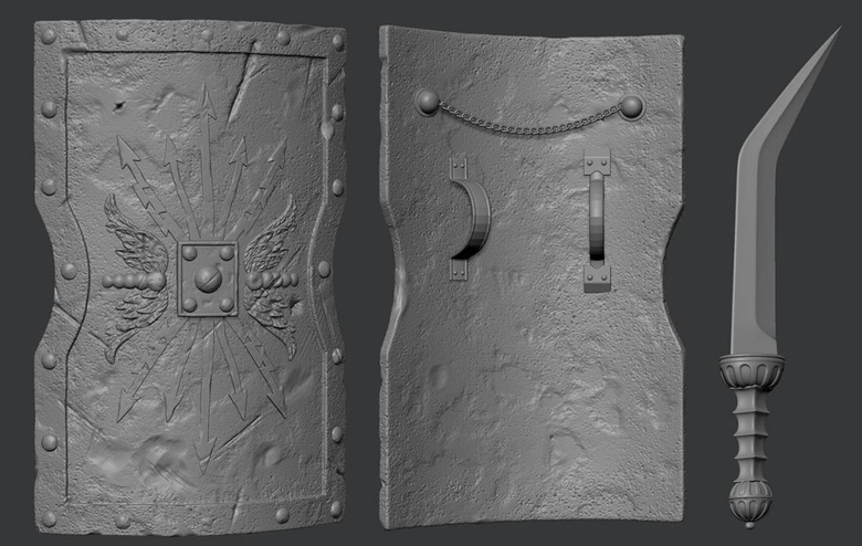 The shield modeled entirely in 3ds Max