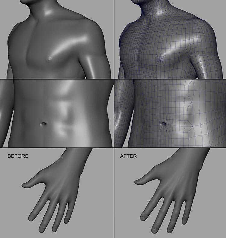 Adding the nipples, the belly button and making some tweaks to the hand