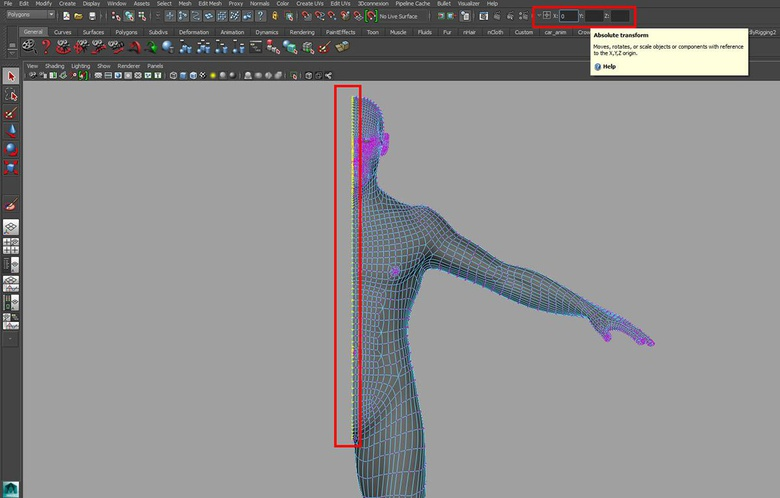 Using the Absolute transform to make sure the center vertices are aligned perfectly