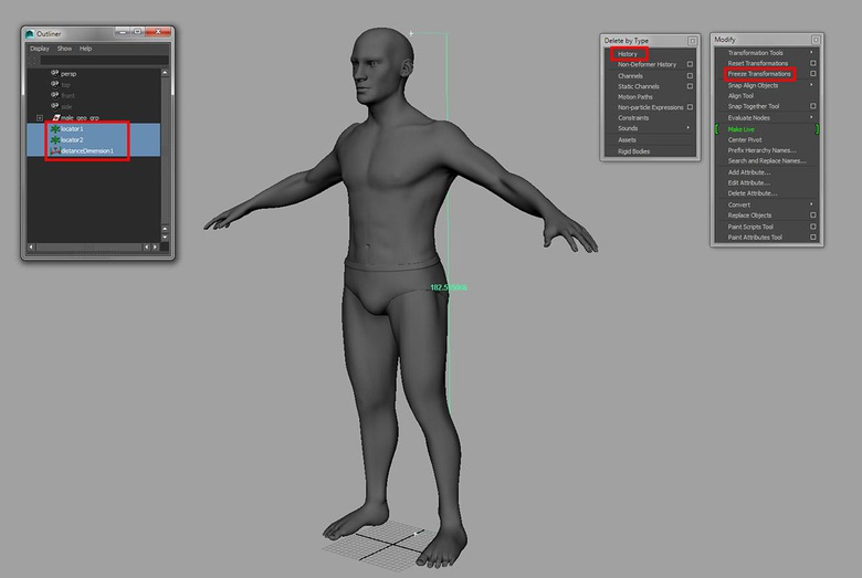 Scaling the character to a height of approximately 6-foot and making sure the mesh is clean
