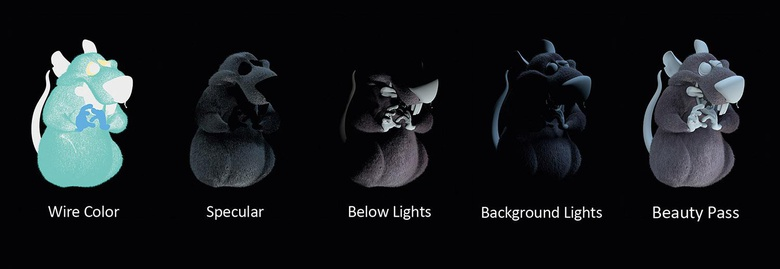 The various render passes for one of the rats