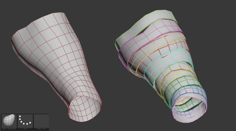 Creating the bandages by extracting and adjusting parts of the mesh