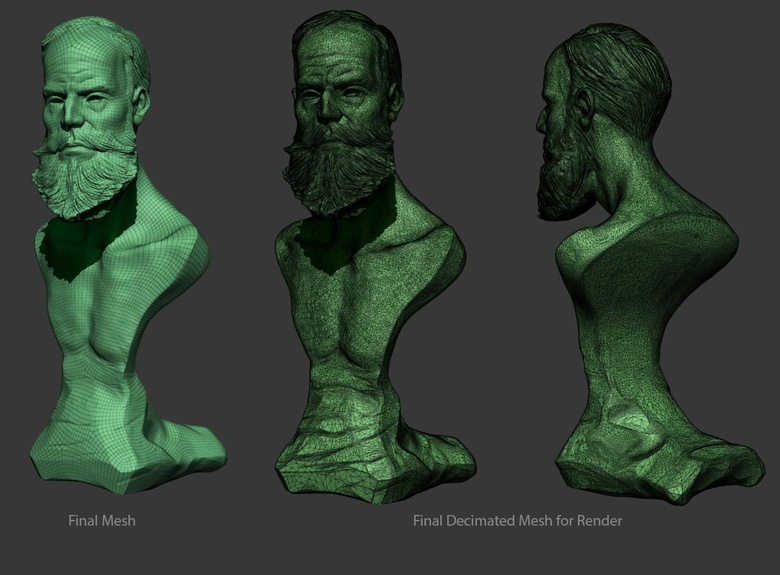 Decimating the mesh to create a relatively low poly asset