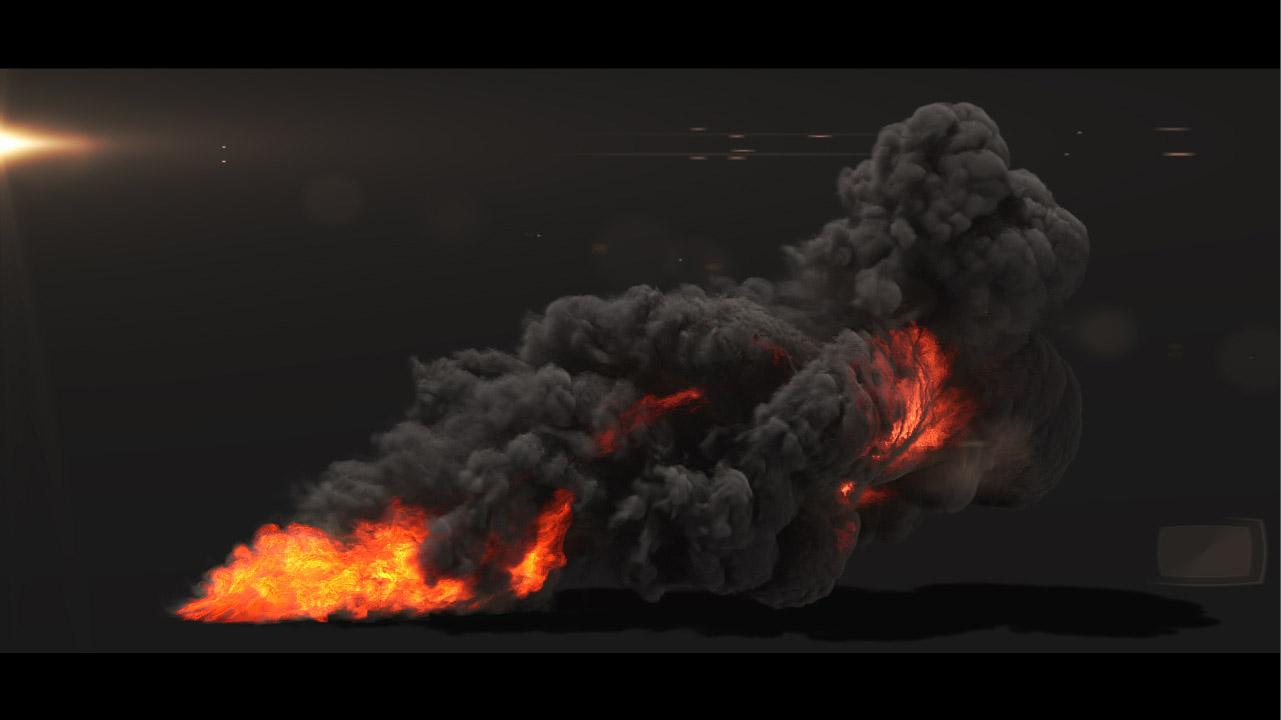 creating small scale fire and smoke with the help of