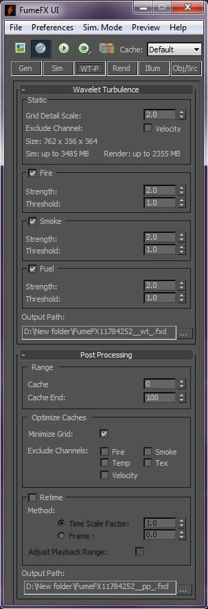 Some of the settings shown in the Wavelet and Post Processing section