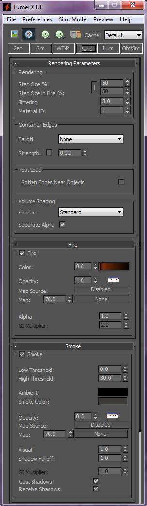 The settings used in the Rendering tab