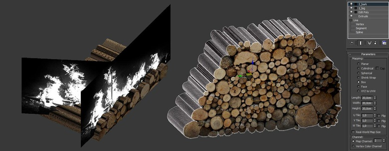 Creating the fire and logs using planes and splines
