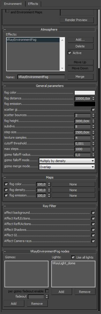 Settings used for the VRayEnvironmentFog in the environment atmosphere