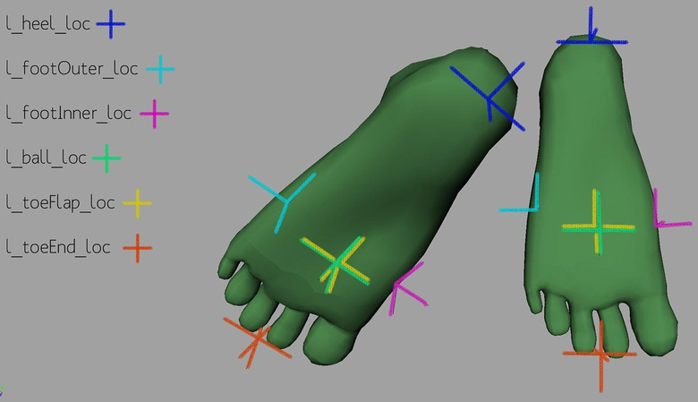 The six locators placed around the foot