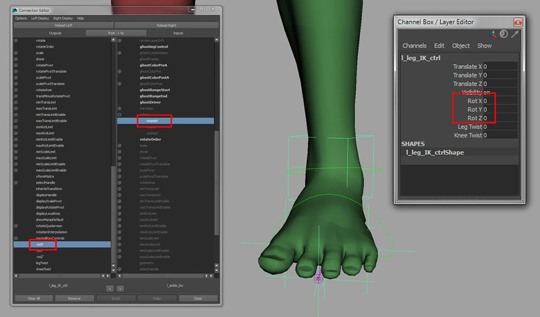 Using the Connection Editor to connect the custom rotate attributes to the l_ankle_loc rotation attributes