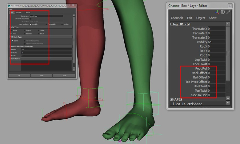Adding custom attributes to drive the reverse foot