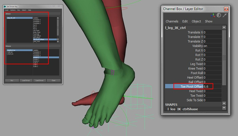The Offset attributes allow the animator to make fine adjustments to the Foot Roll