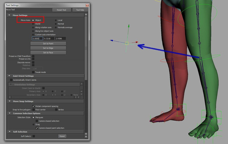 Placing the knee control correctly in Object translate mode