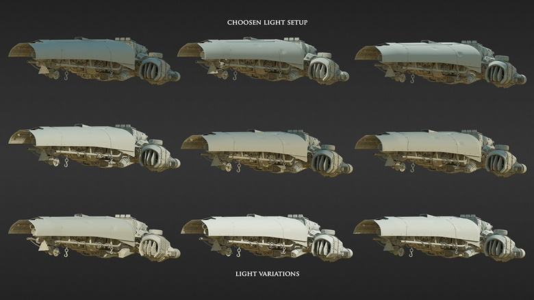 Different variations of lighting the ship