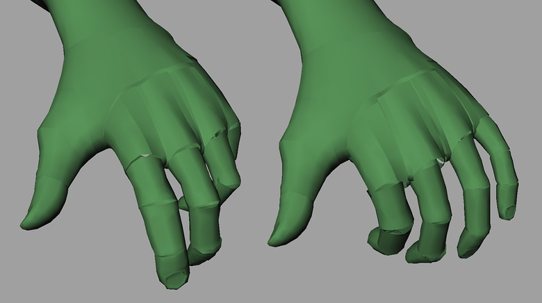 The fingers in the relaxed pose states