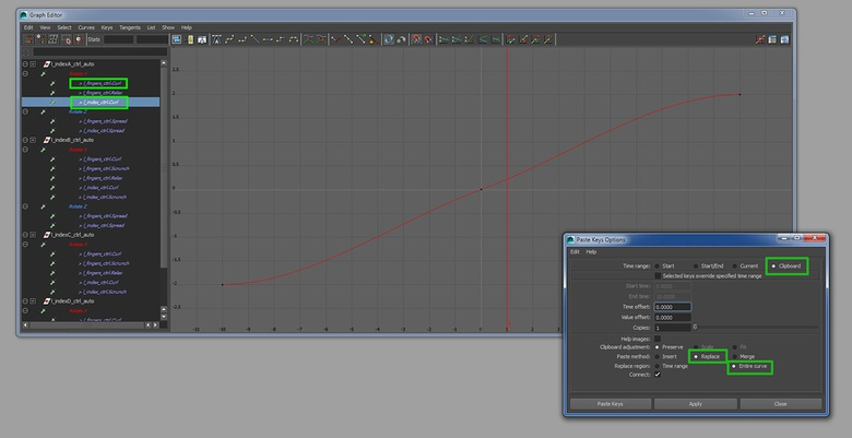 Using the Graph Editor to copy the Set Driven Keys from l_fingers_ctrl to l_index_ctrl