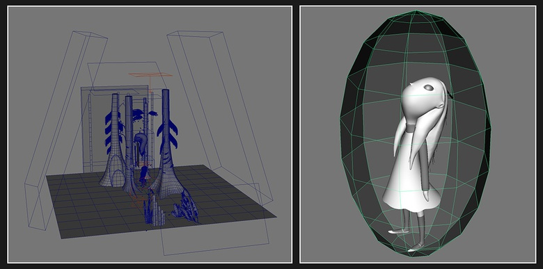 Trying different primitive shapes for the light meshes and figuring a simple sphere worked well with Alice