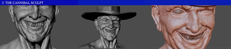 Some of the skin pore effects created on the cannibal sculpt