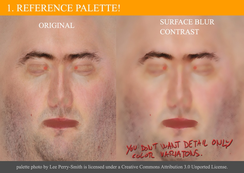 Finding a face reference to get the skin color palette