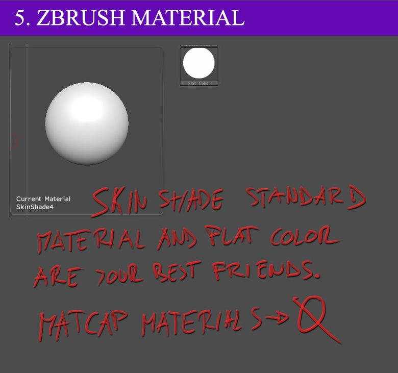 Working with ZBrush materials