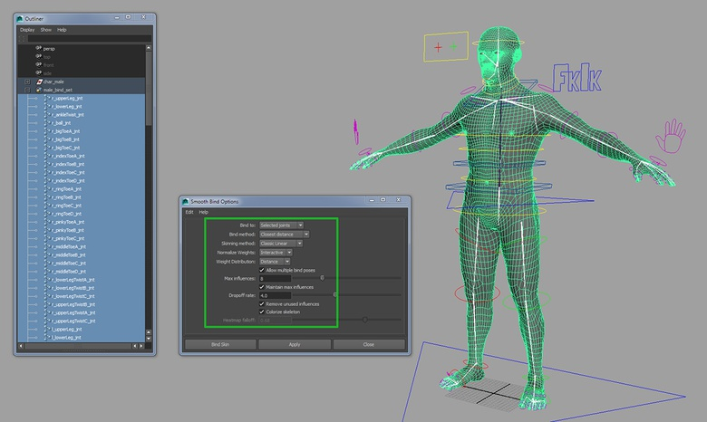 The settings I tend to use for skinning organic characters