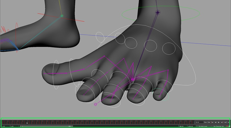 Posing the mesh and setting keyframes so we can see the results on a deforming mesh