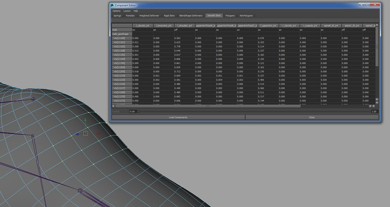 Using the Component Editor to refine the weights and push and pull the vertices into position