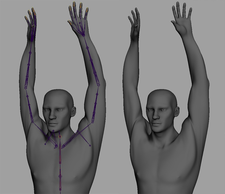 The current deformation from rotating the shoulder and the upper arm controls. This will be pushed further with corrective blendshapes next time
