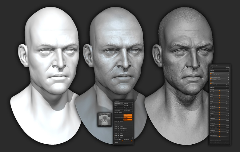 In this example, you can see the different steps taken to mask out details and the effect adding this information to your sculpt has – and it only takes a few minutes