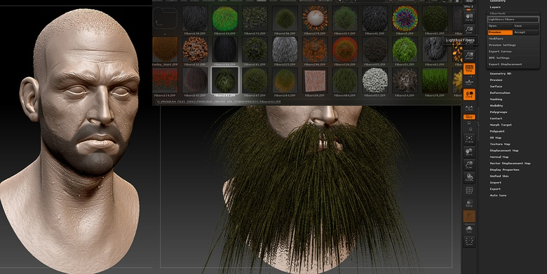 Mask out the areas you wish to apply hair to on your model, growing hair is as easy as finding a preset in ZBrush