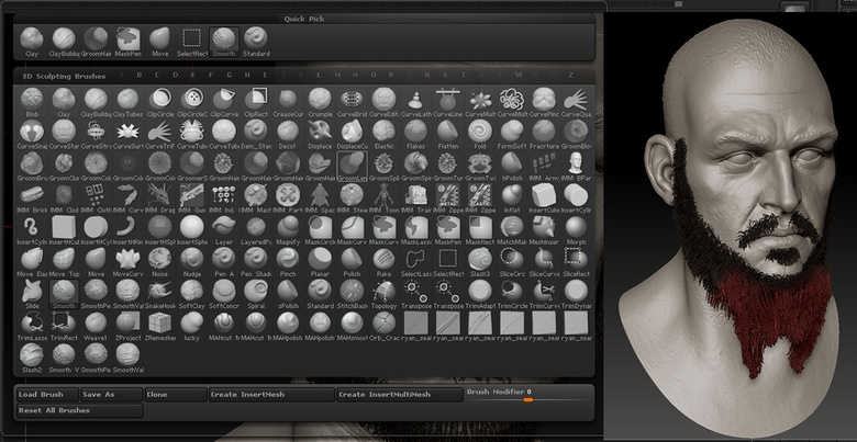 Once your hair SubTool has been created, you can keep manipulating your hair/fur with ZBrush's Groom tools and regular brushes