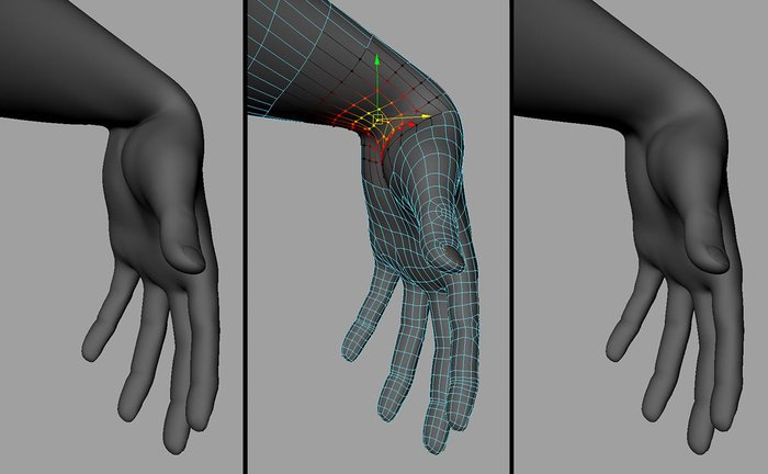 The original wrist pose and using Soft Selection to correct the wrist