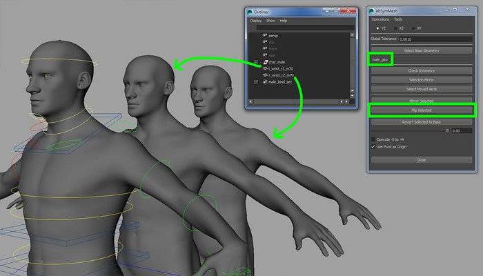 Using the abSymMesh tool to create the right-side corrective shape
